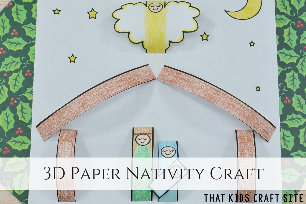 3D Paper Nativity Craft - ThatKidsCraftSite.com