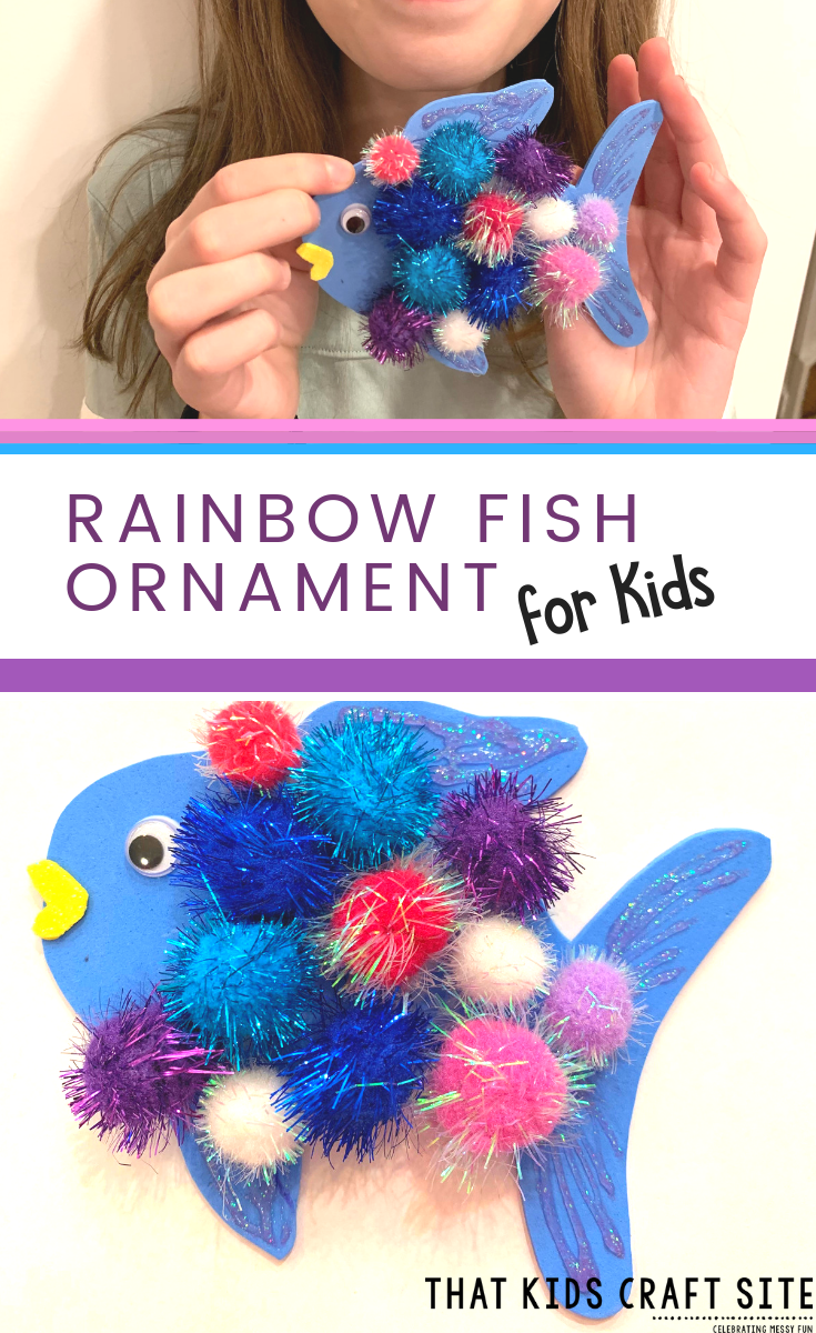 DIY Christmas Ornament: Rainbow Fish Craft - ThatKidsCraftSite.com