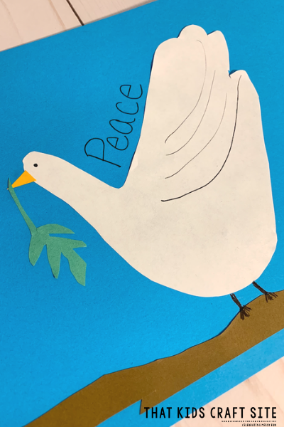 Handprint Peace Dove Craft for Kids - an easy craft for preschoolers - ThatKidsCraftSite.com