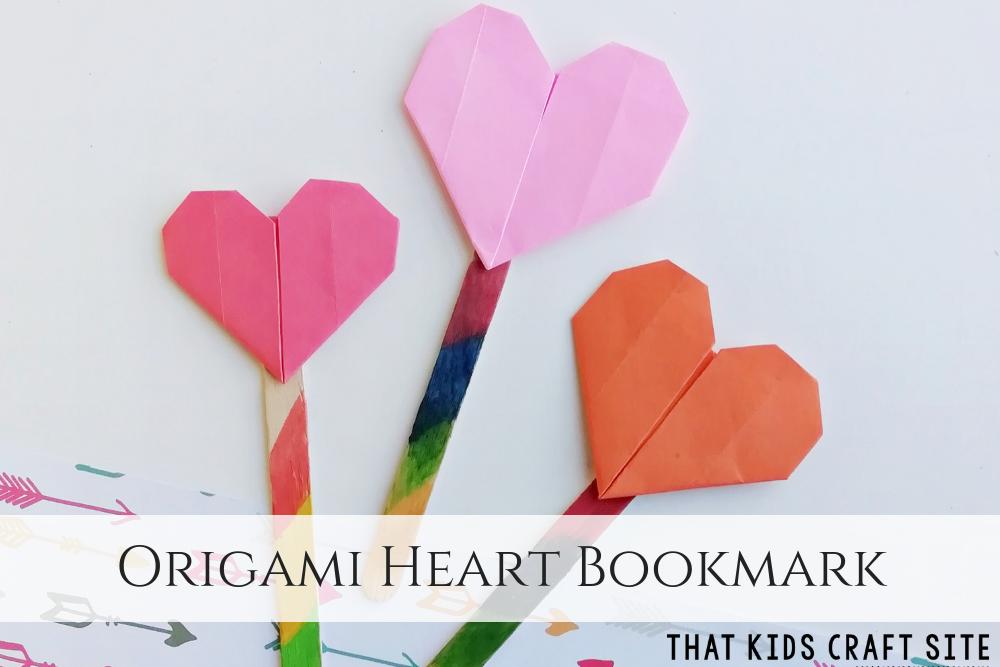 Origami Heart Bookmark Craft for Kids - ThatKidsCraftSite.com