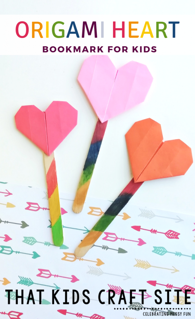 Origami Heart Bookmark for Kids - an easy origami craft for kids - ThatKidsCraftSite.com