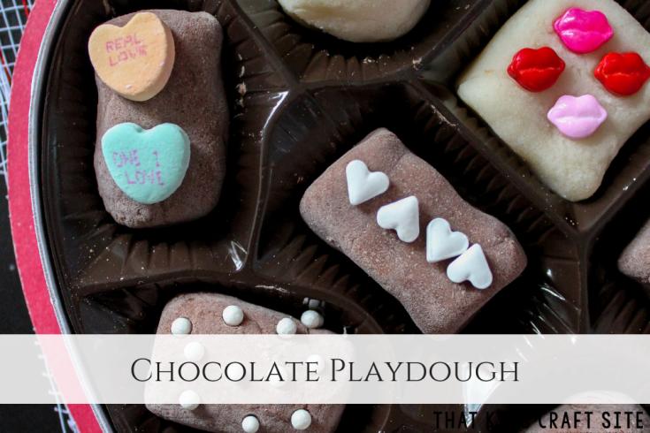 Chocolate Playdough - Valentine's Day Box of Chocolates Chocolate Playdough - ThatKidsCraftSite.com