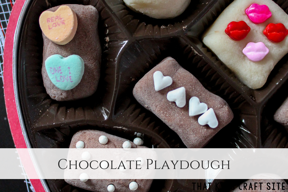 Chocolate Playdough - Valentine's Day Box of Chocolates Chocolate Playdough - ThatKidsCraftSite.com