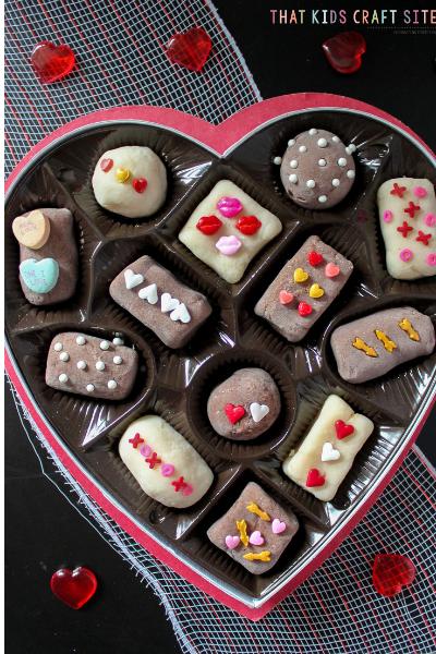 Chocolate Playdough - Valentine's Day Box of Chocolates Chocolate Playdough for Preschoolers - ThatKidsCraftSite.com