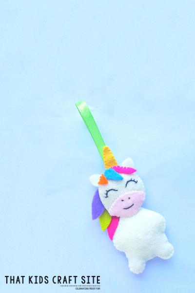 Felt DIY Unicorn Ornament Craft - ThatKidsCraftSite.com