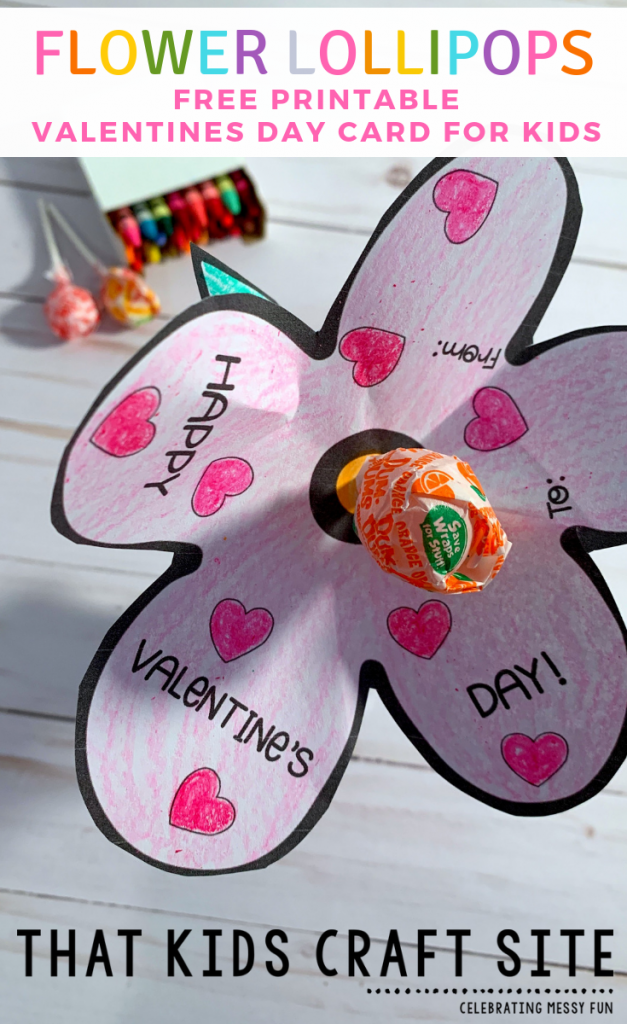 Flower Lollipops - Free Printable Valentines Day Cards for Kids - ThatKidsCraftSite.com