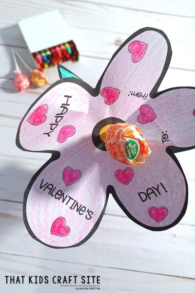 Free Printable Lollipop Flower Valentines Day Cards - ThatKidsCraftSite.com