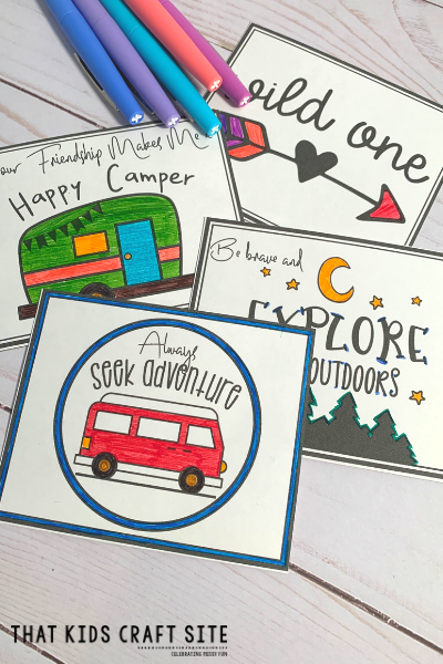 Free Printable Valentines Day Cards - Camping Themed Printable Cards for Tweens - ThatKidsCraftSite.com