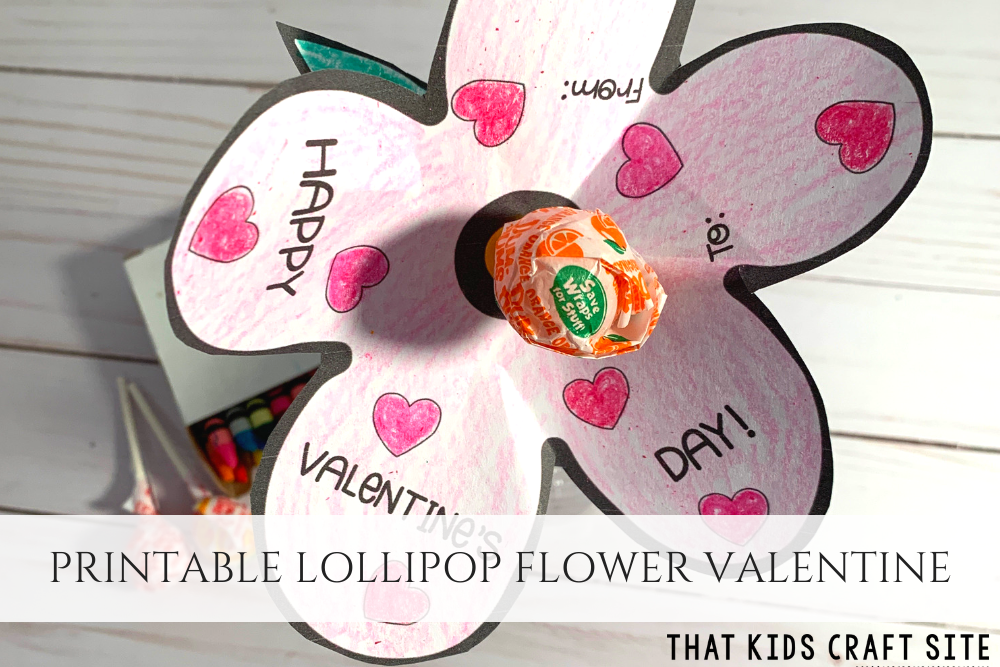Printable Lollipop Flower Card - Cute Valentine's Day Cards for Kids - ThatKidsCraftSite.com