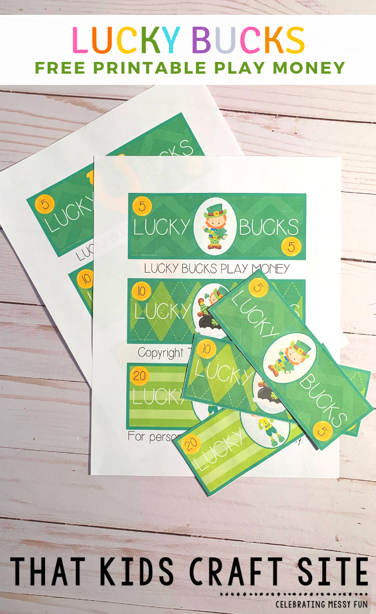 Printable Play Money - Lucky Bucks Pretend Play Money Printable for St Patricks Day for Kids - ThatKidsCraftSite.com
