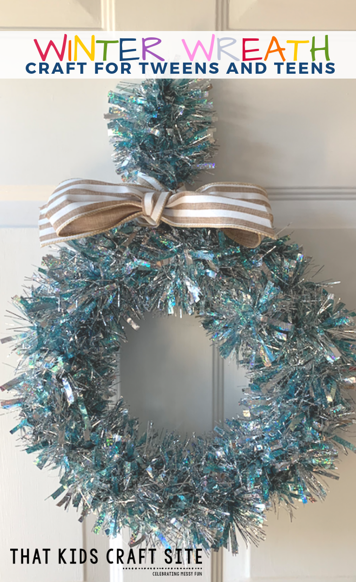 Make a Winter Wreath Craft to decorate after the holidays! This is an easy tween craft that's also great as a teen craft or an adult craft. #winterwreath #winter #wreath #diy #tweencrafts #teencrafts