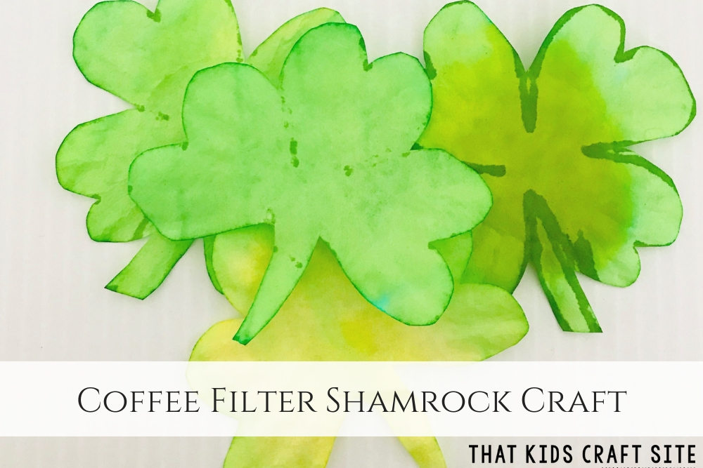 Coffee Filter Shamrock Craft - St Patricks Day Craft for Preschool - ThatKidsCraftSite.com