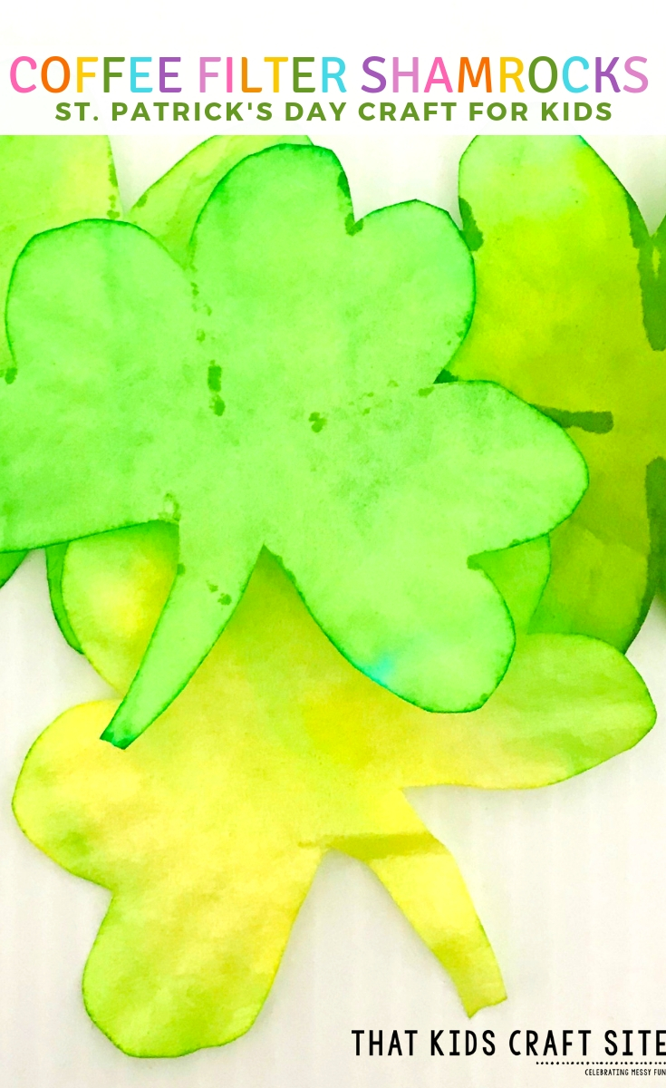 Coffee Filter Shamrock Craft That Kids Craft Site