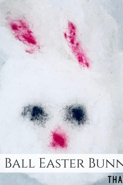 Cotton Ball Easter Bunny Craft - Easy Easter Craft for Kids - ThatKidsCraftSite.com
