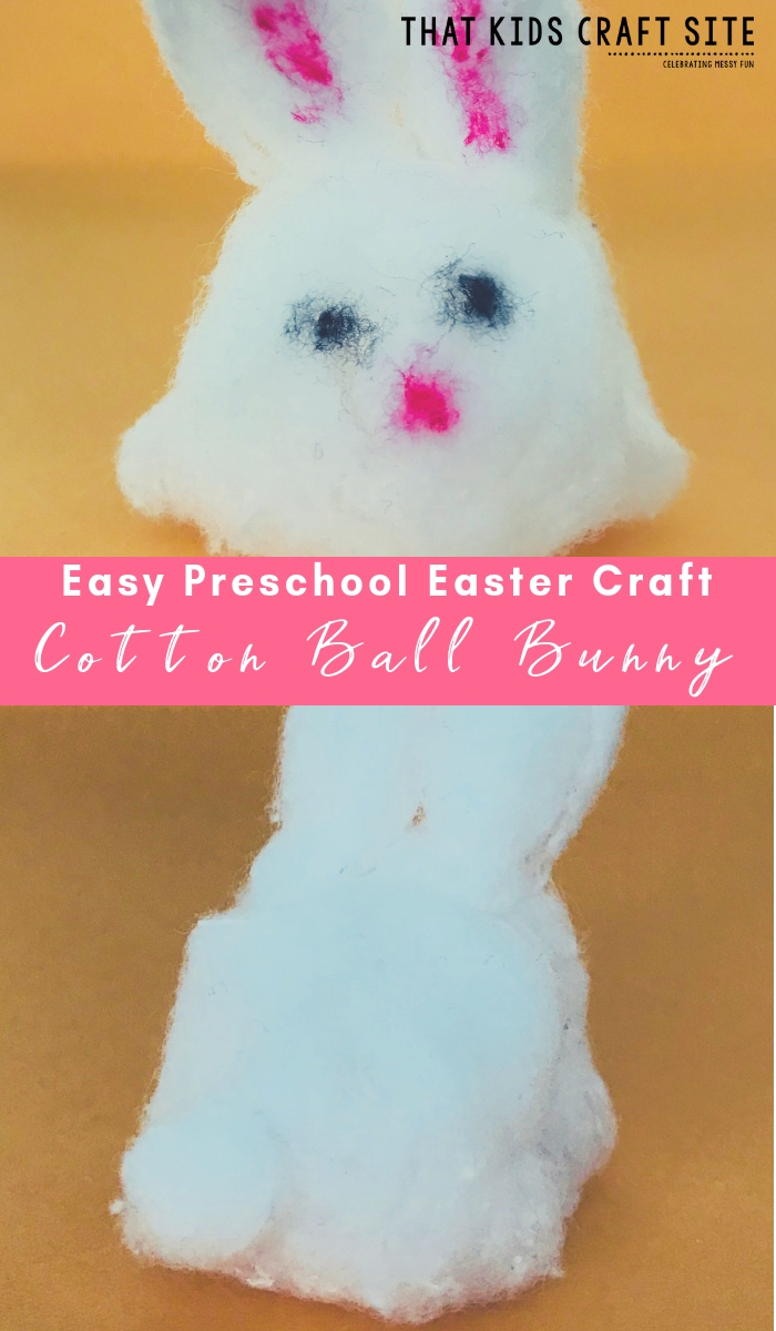 Easy Preschool Easter Craft - Cotton Ball Bunny Craft for Kids - ThatKidsCraftSite.com