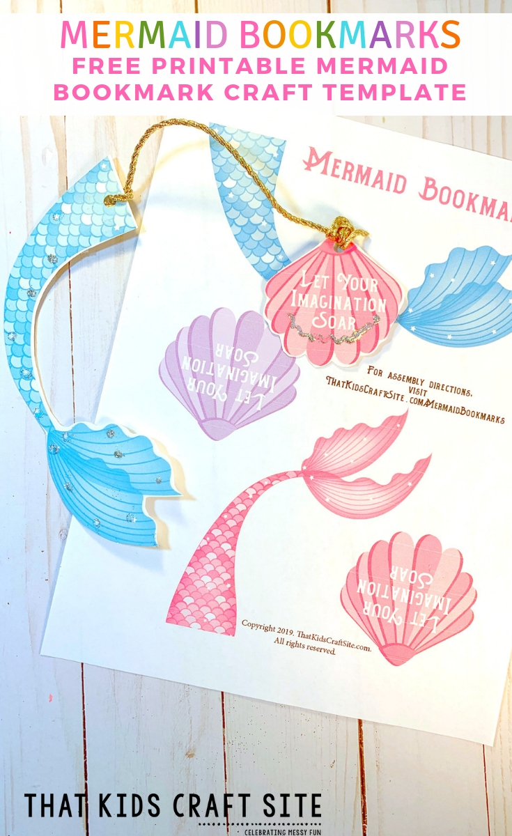 Free Printable Mermaid Bookmarks Craft Template for Kids - ThatKidsCraftSite.com