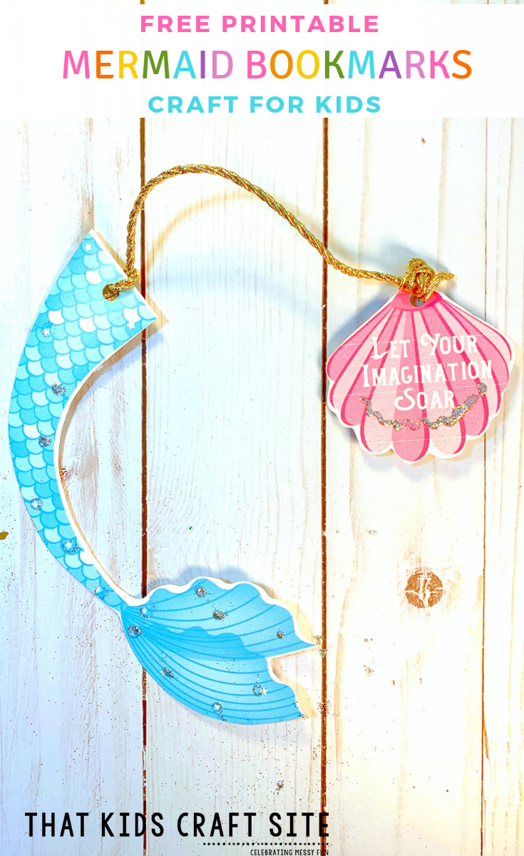 Free Printable Mermaid Tail Bookmark Craft for Kids - ThatKidsCraftSite.com