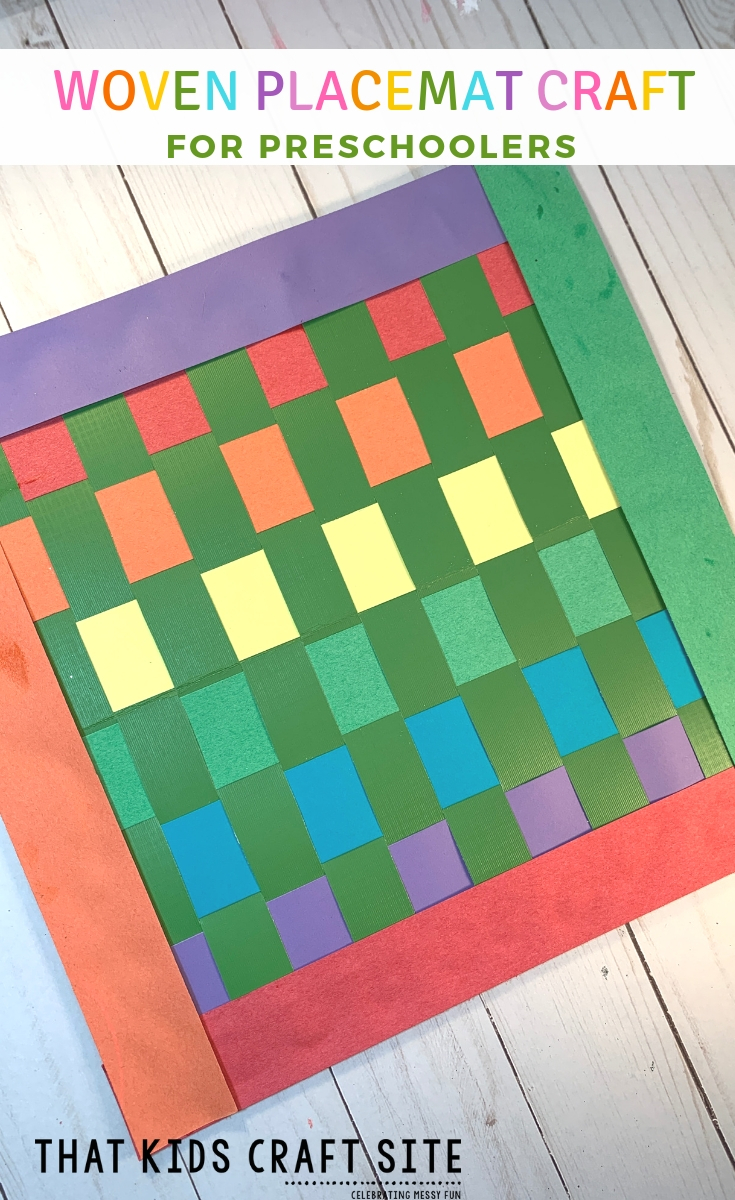 Preschool Craft - Woven Rainbow Placemat Craft for Kids - Great for a St Patrick's Day Craft - ThatKidsCraftSite.com