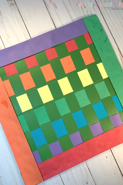 Rainbow Woven Placemat Craft for Preschoolers - ThatKidsCraftSite.com