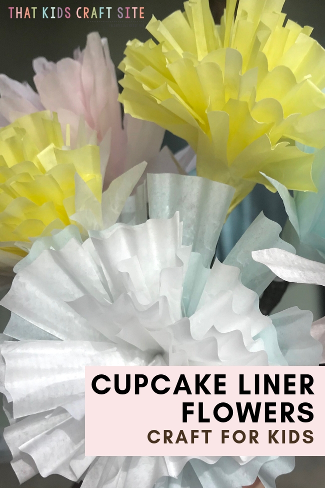 Spring Craft - Cupcake Liner Flowers Craft for Kids - ThatKidsCraftSite.com