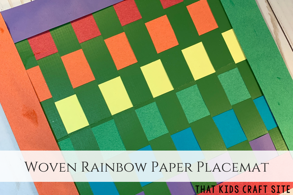 Woven Rainbow Paper Placemat Craft for Preschoolers - ThatKidsCraftSite.com