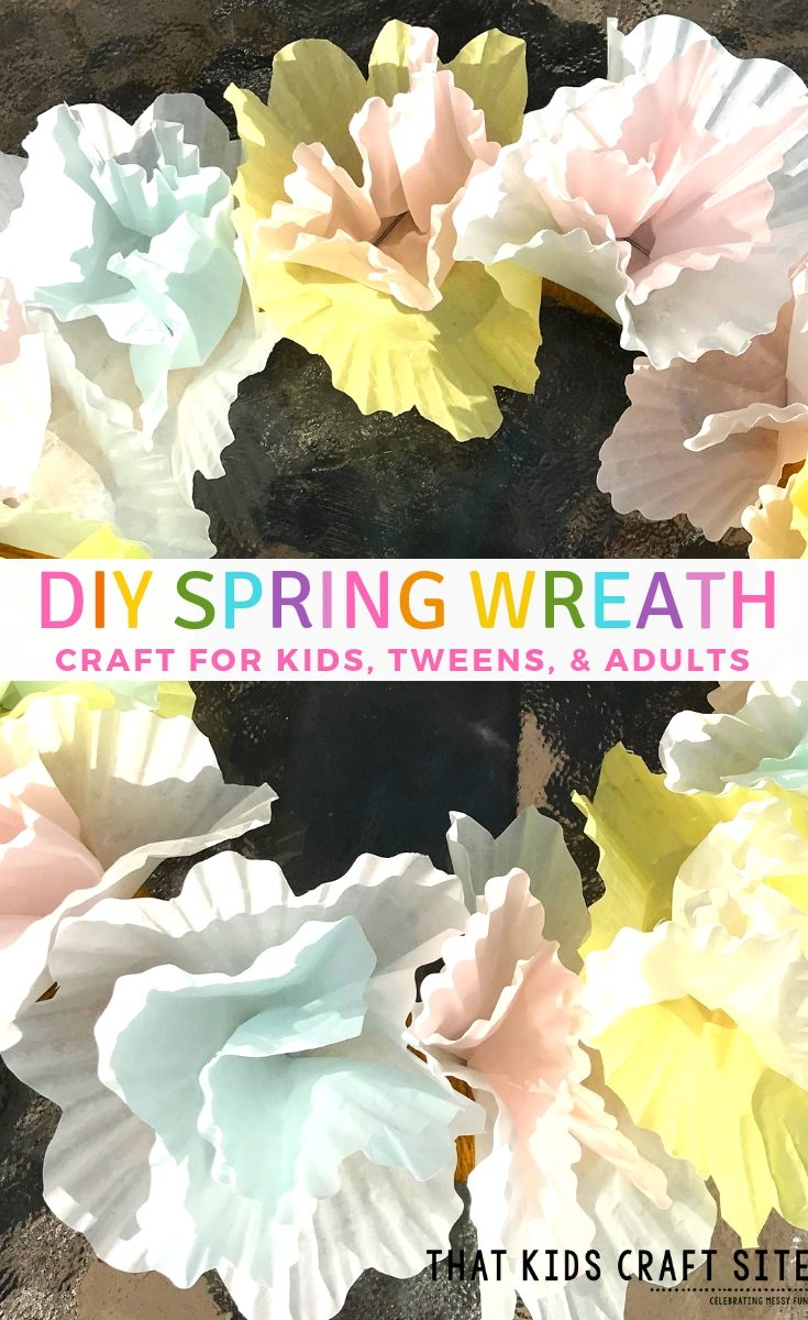 DIY Spring Wreath Craft for Kids, Tweens, and Adults! Try this easy DIY Spring Wreath for a fun and inexpensive spring or Easter project. #spring #kidscrafts #diywreaths #eastercrafts