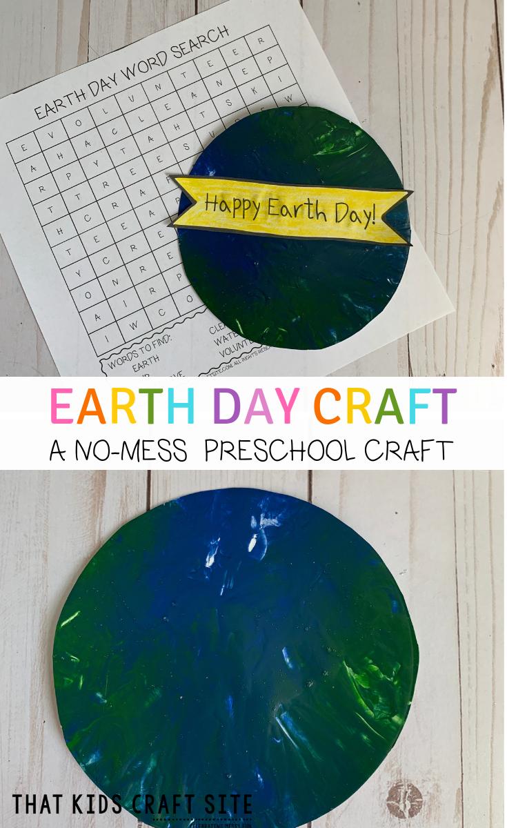 Earth Day Craft - A No-Mess Preschool Craft for Earth Day - Painting Earth Day Preschool Craft for Kids - ThatKidsCraftSite.com