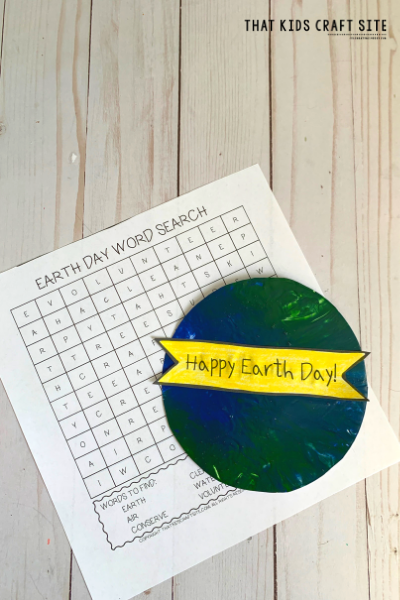 Earth Day Craft for Preschool and Free Earth Day Word Search - ThatKidsCraftSite.com