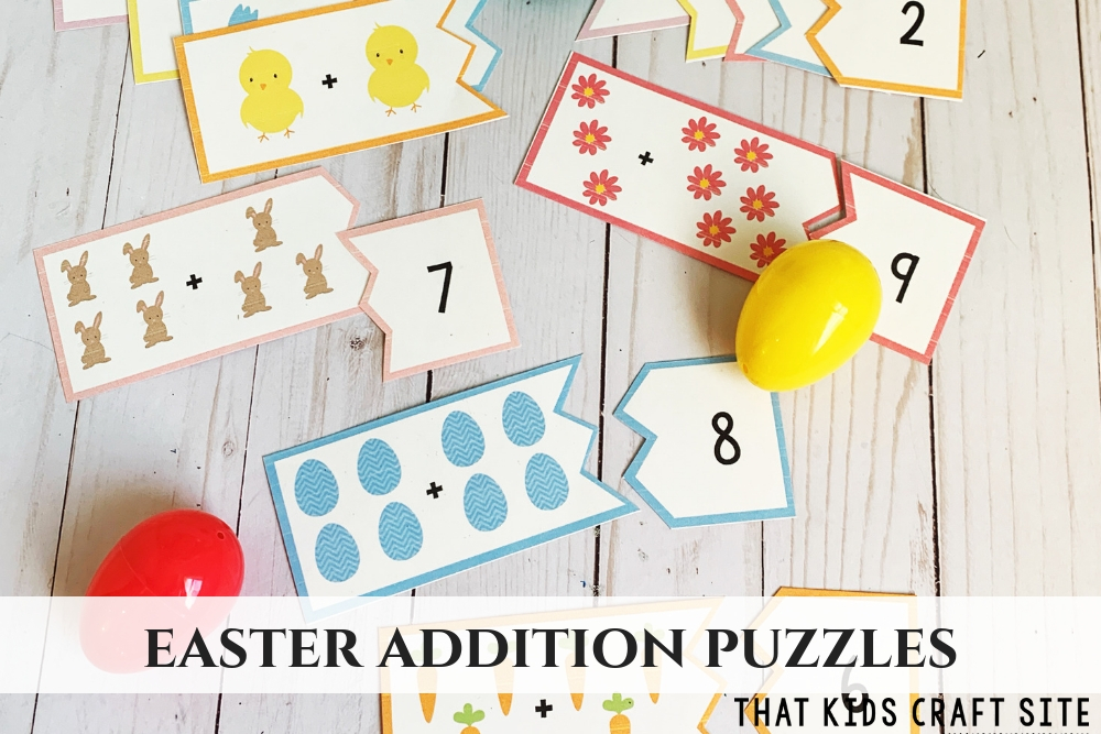 Easter Addition Puzzles for Preschool - ThatKidsCraftSite.com