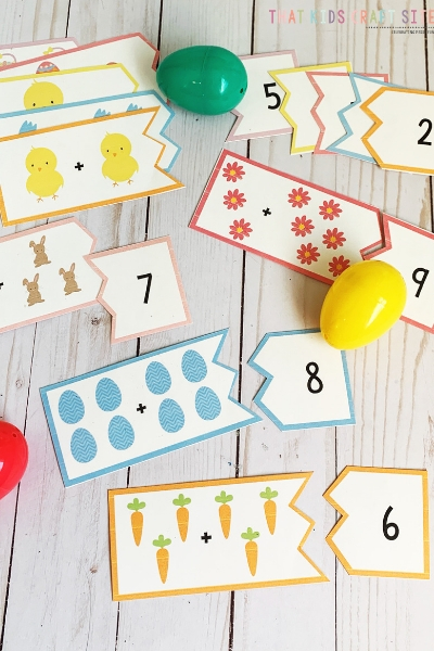 Easter Addition Puzzles for Preschoolers - Preschool Math Games for Easter - ThatKidsCraftSite.com