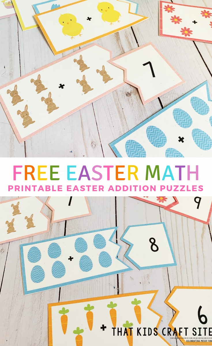 Free Easter Math Puzzles - Printable Easter Addition Game for Preschool - ThatKidsCraftSite.com