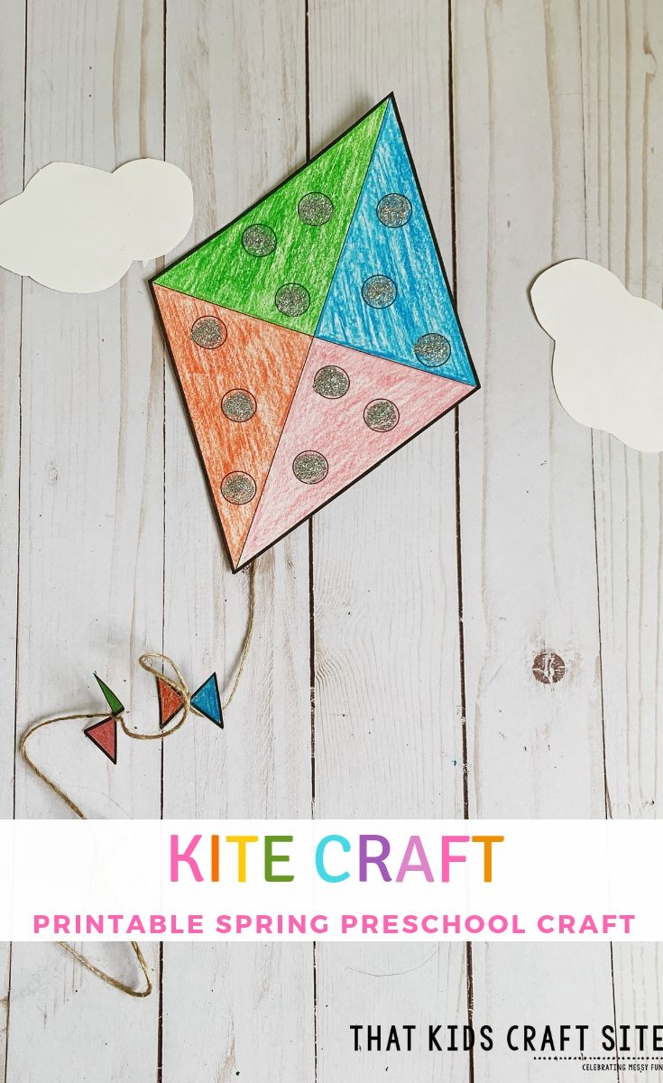 Kite Craft for Preschool - an easy Printable Spring Craft for Preschoolers! ThatKidsCraftSite.com #springcraft #preschool #kite
