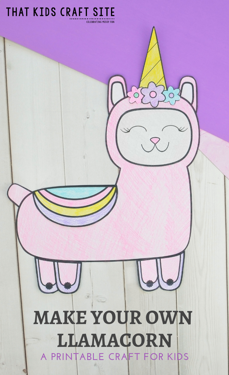Make Your Own Llamacorn - a Printable DIY Llama Craft for Kids - ThatKidsCraftSite.com