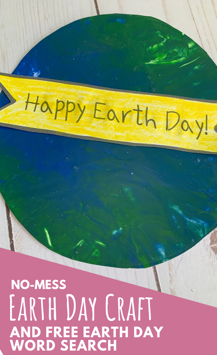 No-Mess Painting Earth Day Craft and Free Printable Earth Day Word Search for Kids - Preschool Crafts for Kids - ThatKidsCraftSite.com