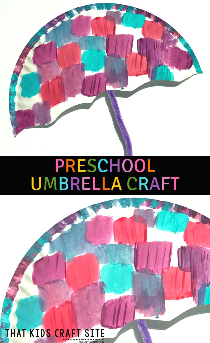 Paper Plate Umbrella Craft - a Preschool Craft for Kids - ThatKidsCraftSite.com