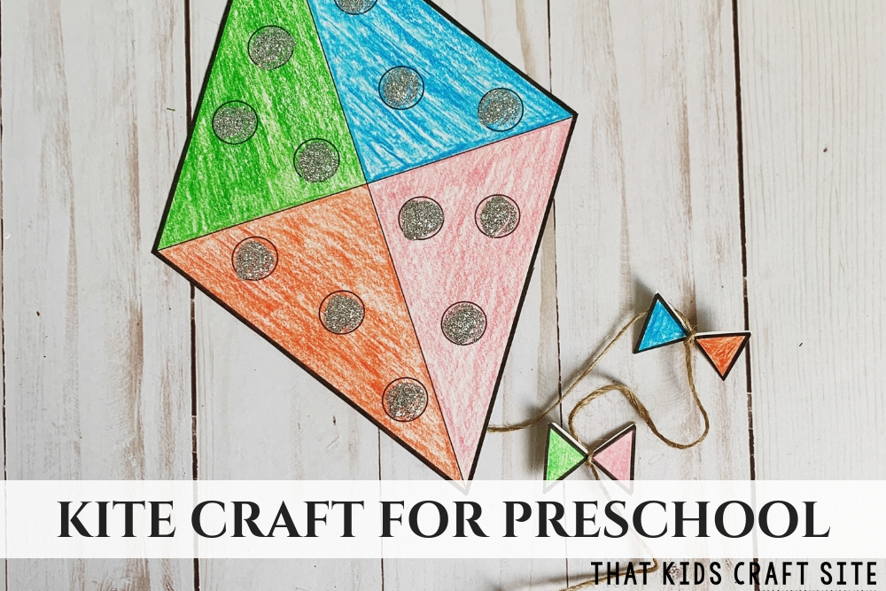 Preschool Kite Craft for Kids - ThatKidsCraftSite.com