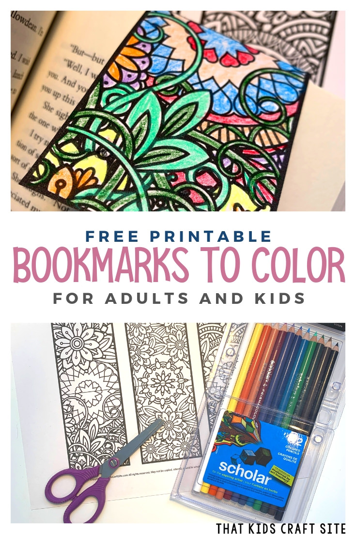 Free Printable Bookmarks to Color for Adults and Kids - Printable Coloring Bookmarks - ThatKidsCraftSite.com
