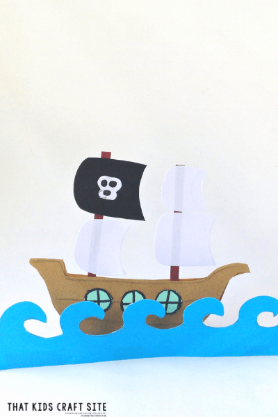 Pirate Ship Craft with Printable Pirate Ship Template - ThatKidsCraftSite.com