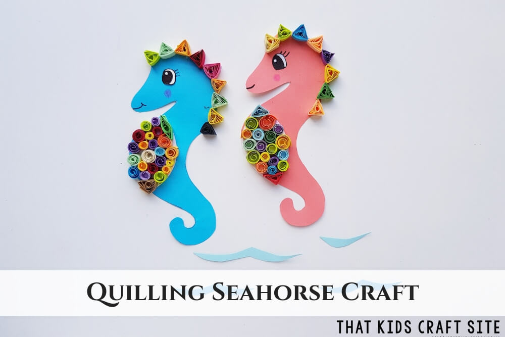 Quilling Seahorse Craft with Free Quilling Pattern - ThatKidsCraftSite.com