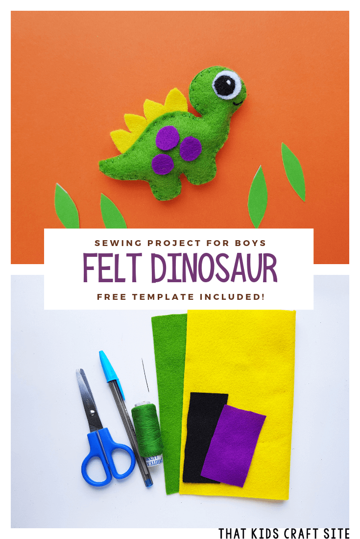 Sewing Project for Boys - Felt Dinosaur Template Included