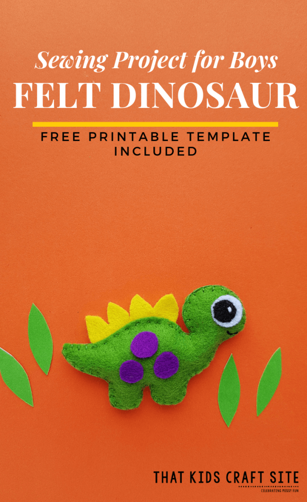 Sewing Project for Boys - Felt Dinosaur Template Included - ThatKidsCraftSite.com