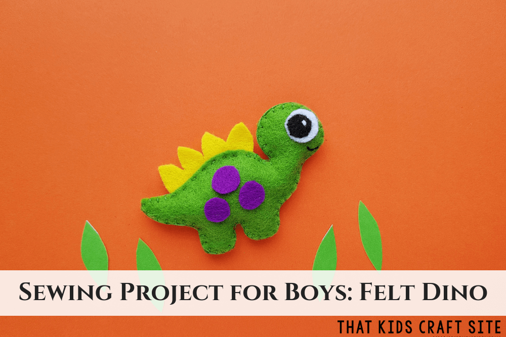 Sewing Project for Boys - Felt Dinosaur Template - ThatKidsCraftSite.com