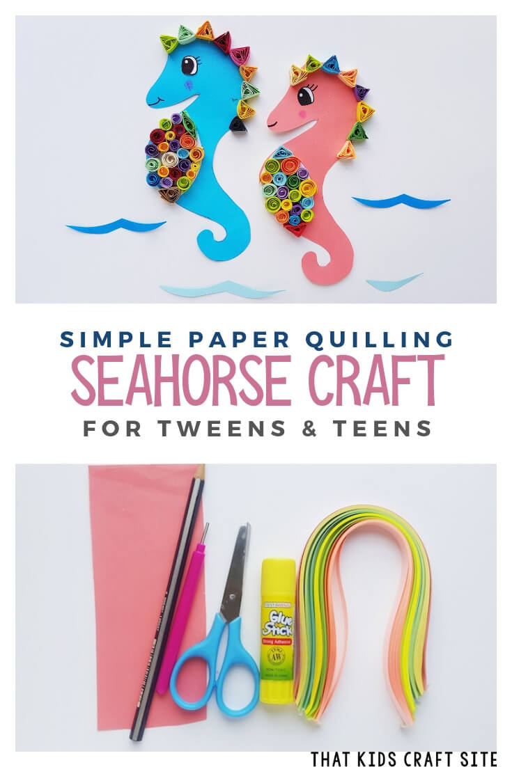 Simple Paper Quilling Seahorse Craft for Tweens and Teens - ThatKidsCraftSite.com
