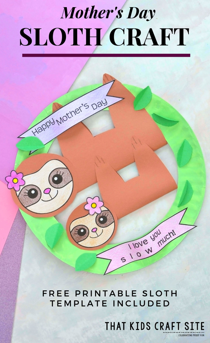 Sloth Craft - A Mother's Day Sloth Wreath with Printable Sloth Template Included - ThatKidsCraftSite.com