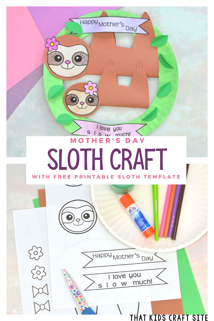 Sloth Craft for Mother's Day with a Free Printable Sloth Template - ThatKidsCraftSite.com