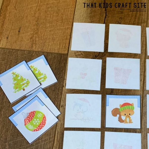 Christmas Memory Matching Game for Preschool - ThatKidsCraftSite.com