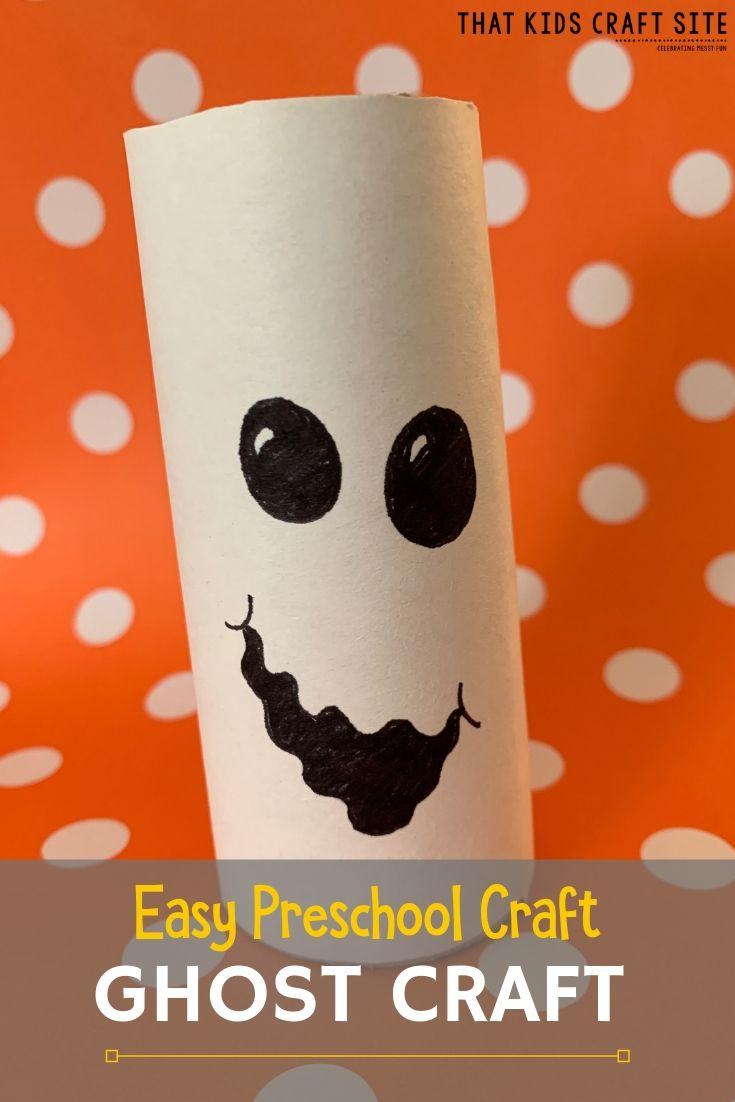 Easy Ghost Craft - a Preschool Halloween Craft  - ThatKidsCraftSite.com