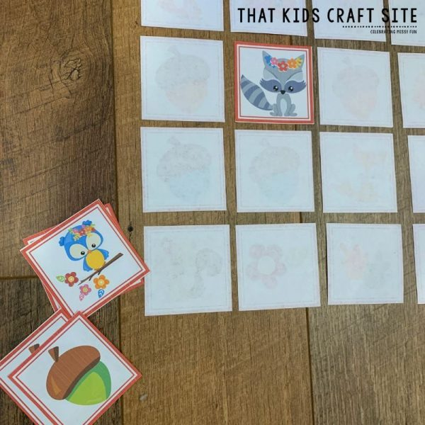 Fall Memory Matching Game for Preschool - ThatKidsCraftSite.com