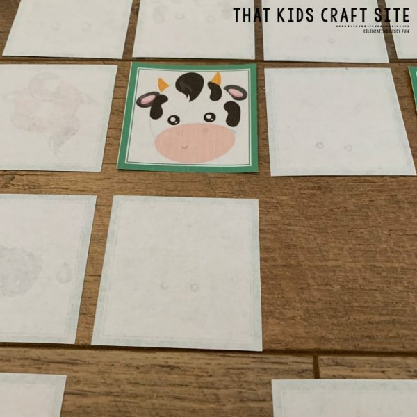Farm Memory Matching Game for Preschool - ThatKidsCraftSite.com