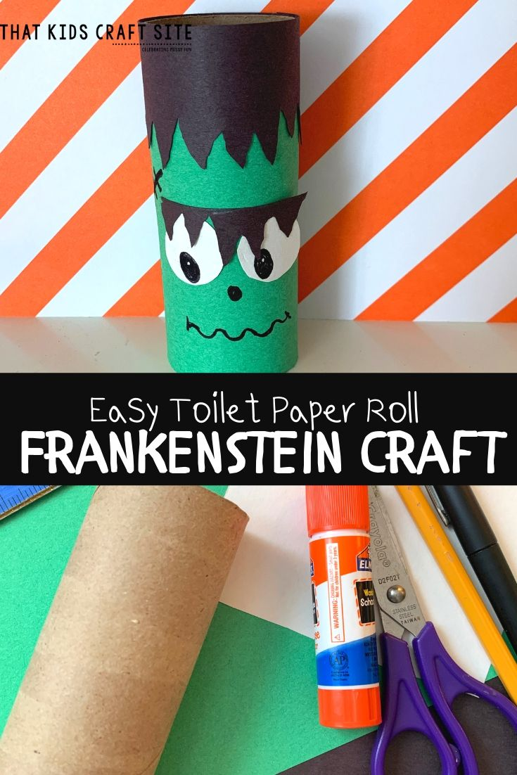 Easy Toilet Paper Roll Craft for Kids - Frankenstein Halloween Craft - ThatKidsCraftSite.com